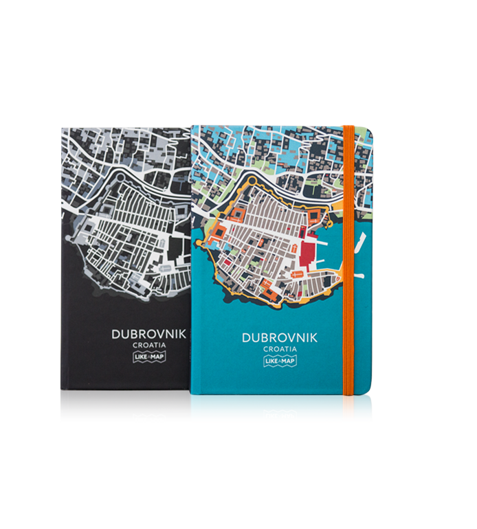 Dubrovnik notebook with designed map prints