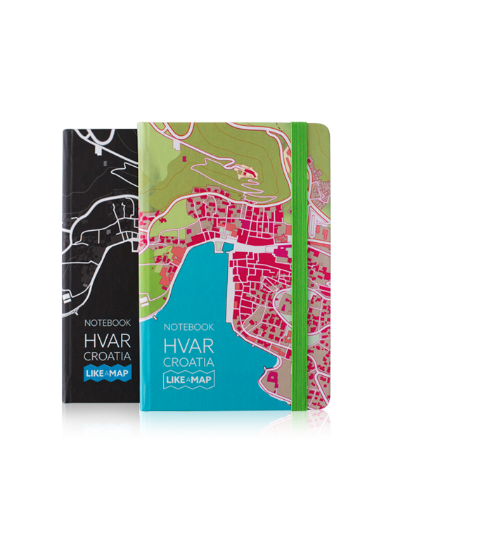 island hvar notebook with designed map prints
