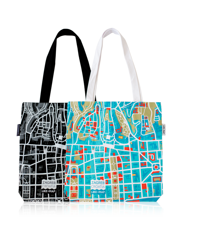 Zagreb tote bag with designed map prints